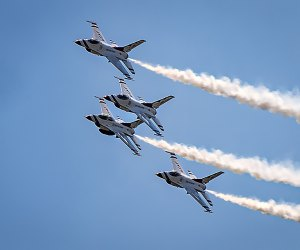 Thrill to  the Air Force Thunderbirds at Jones Beach.  Photo by SSgt Ned T. Johnston for the  U.S. Air Force