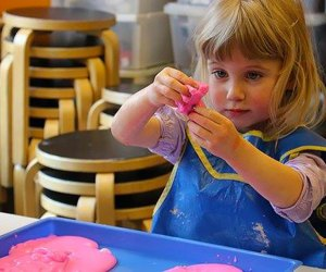 Your preschooler can get his or her hands dirty  (in a playful way) at Messy Afternoons at the Long Island Children's Museum. Photo courtesy of LICM