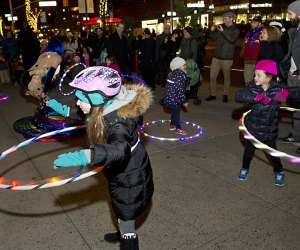 Winter's Eve at Lincoln Square features free entertainment, family fun, outdoor food tastings and more, and begins with the Upper West Side's tree lighting ceremony at Dante Park. Photo courtesy of Lincoln Square BID