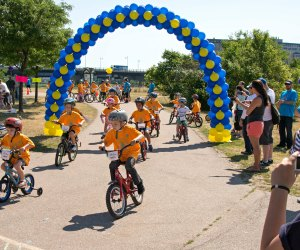 Little riders get serious about the Kids Race. Photo courtesy of Pan-Mass Challenge