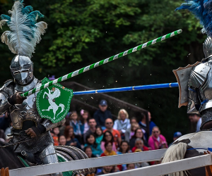 Two knights joust at the New York Renaissance Faire