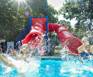 Pierce Day Camp has a pool for every age. Each summer, campers graduate to a deeper pool with more features - like the Double Chute Water Slide at the age 6 pool.