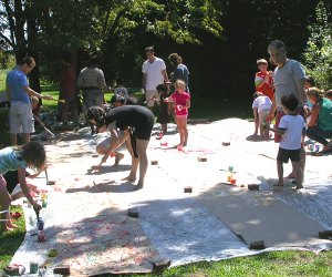 The entire family can participate at the Jackson Pollock House drip painting workshop. Photo courtesy of the event