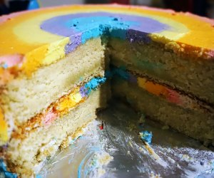 Birthday Cake Ideas for a Kids' Birthday Party: The rainbow is both inside and out