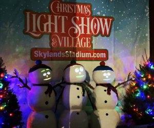 See singing snowment at the Skylands Stadium Christmas Light Show
