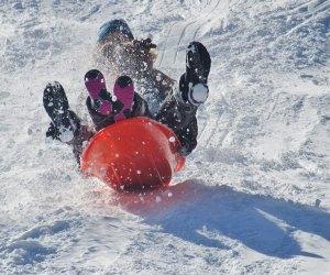 Sledding on the fresh snow with kids