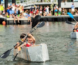 Check out the cardboard boat racers at SoundWaters HarborFest. Photo by Michael Bagley