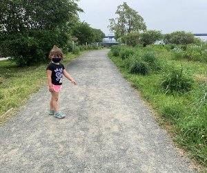 Girl walking on path