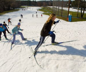 Kids get to try out cross country skiing in Weston this weekend. Photo courtesy of Weston Ski Track/Paddle Boston
