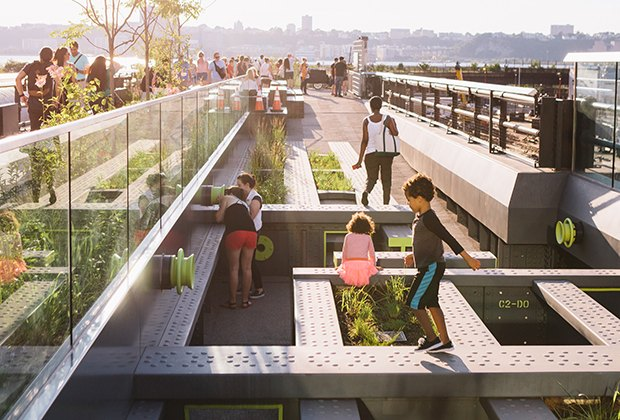 Kids can play on the  Pershing Square Beams on the High Line. Photo by Rowa Lee for Friends of the High Line