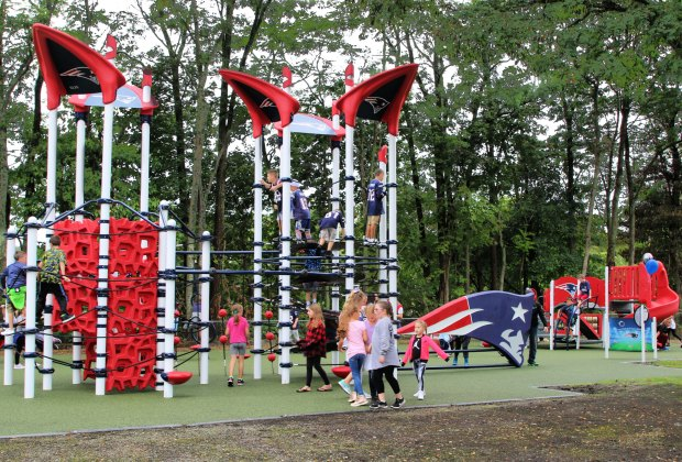 Little football fans get a kick out of playing at one of two Patriots-donated playgrounds south of the city. Photo courtesy of the New England Patriots
