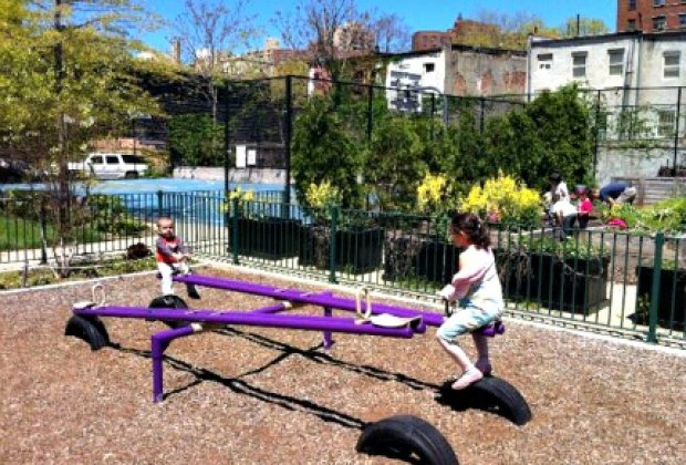 You'll find community gardens peppered throughout the nabe; this one <br/>on 103rd Street, with a playground and vegetable garden, is one of my favorites