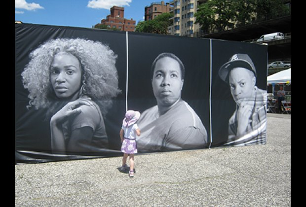 "Outside ""Becoming Visible"" container, portraits of homeless transgender teens"