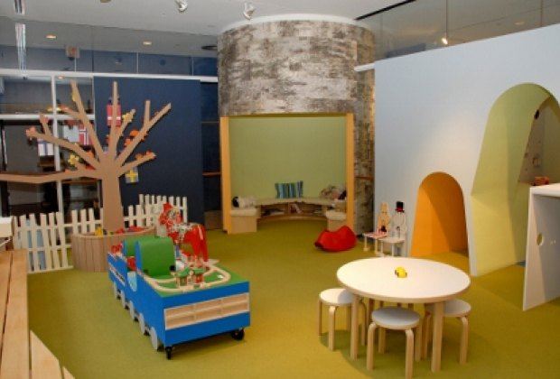 The beautiful birch bark reading area