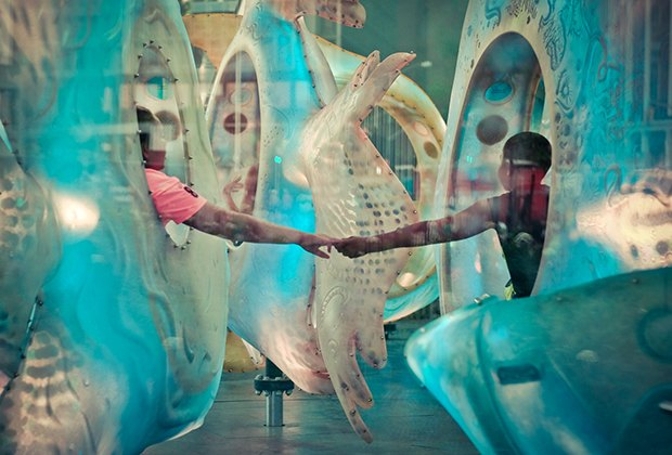 Riding the SeaGlass Carousel in downtown Manhattan. Photo by Anna Afanaseva via Flickr