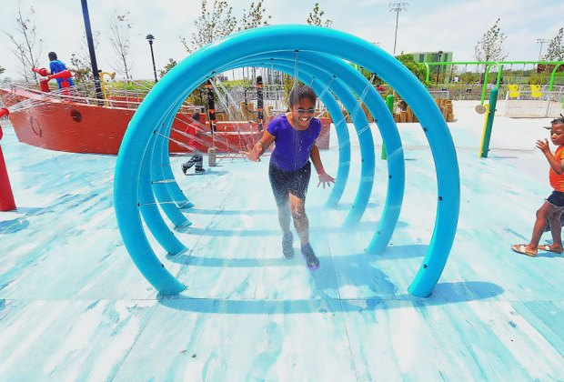 Rockaway Beach's 30th Street Playground is a refreshing blast on a hot day. Photo courtesy of NYC Department of Parks & Recreation