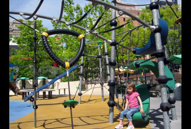 There are lots of structures to climb in Chelsea Waterside Playground