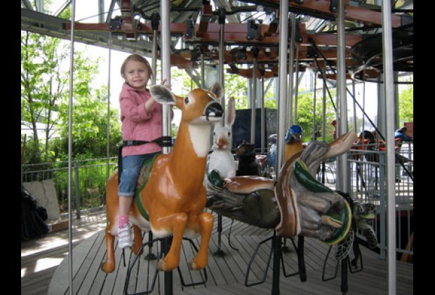 Riding on the Pier 62 Carousel