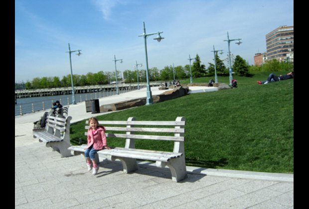 Hudson River Park near Pier 62, lawn with a view