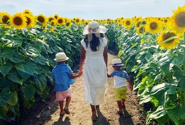 mom and kids walking through a sunflower field Gorgeous Sunflower Fields for Pick-Your-Own Flowers near Chicago