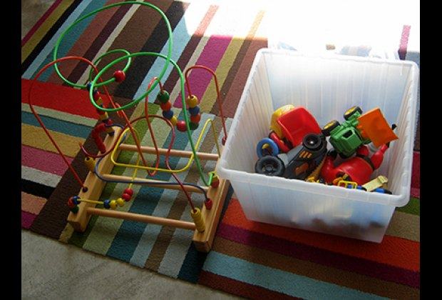 There's a small selection of toddler toys in the playroom
