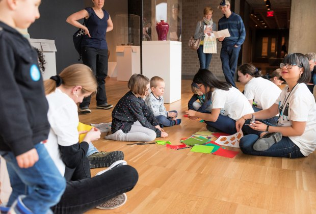 Kids collaborate with students at Family Day at Yale University Art Gallery. Photo by Jessica Smolinski