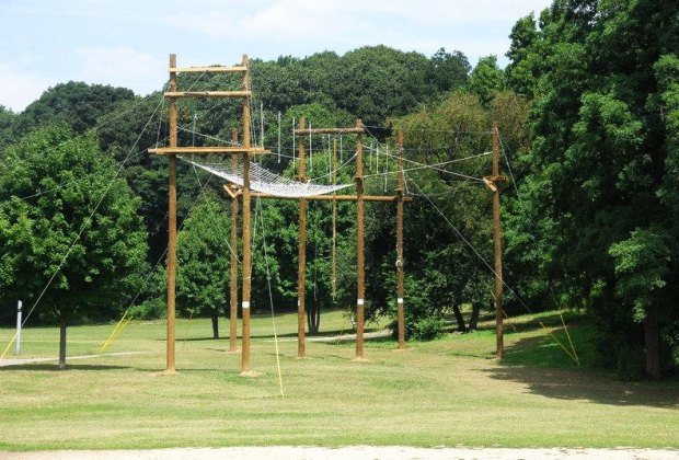 The adventure course at Ally Pond Park