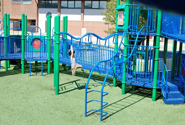 Ramps mixed with climbing features ensure kids of all abilities can play together at Amelia Grace Place. Photo courtesy of Marie Saldi AccessibilityInSouthShoreMA.wordpress.com