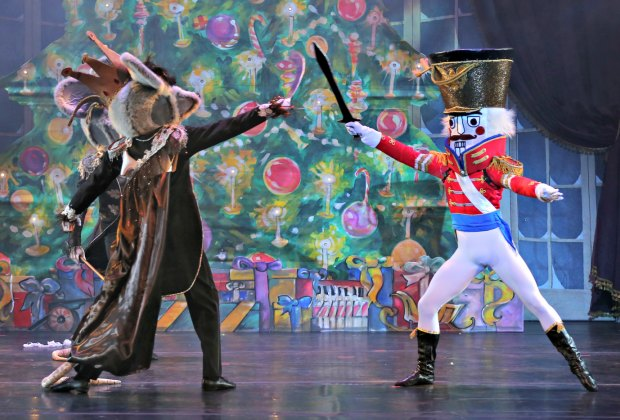 The Nutcracker battles the Mouse King in American Repertory Ballet's production of The Nutcracker. Photo by Leighton Chen.