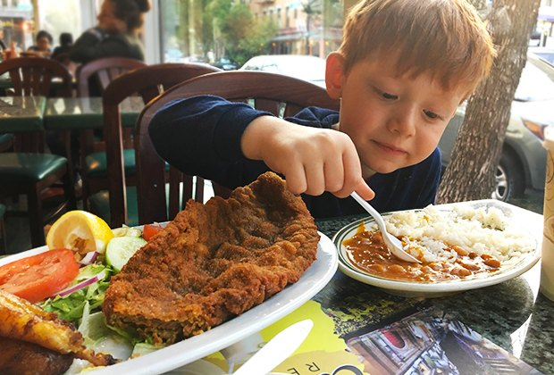 Tierras Colombianas traditional dishes win over kids with yummy comfort food. Photo by the author