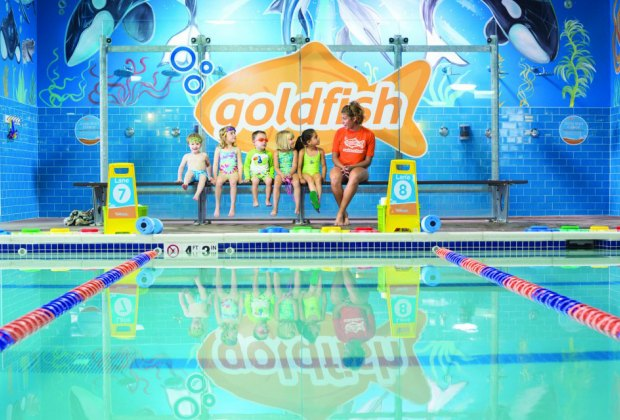 Learn water safety in FREE workshops at  Goldfish Swim Schools. Photo courtesy of Goldfish