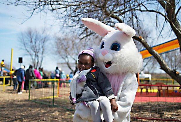 Meet the Easter Bunny and make a for dash for eggs at the Easter Egg Hunt at Green Meadows Farm at Floyd Bennett Field. Photo courtesy of Aviator Sports