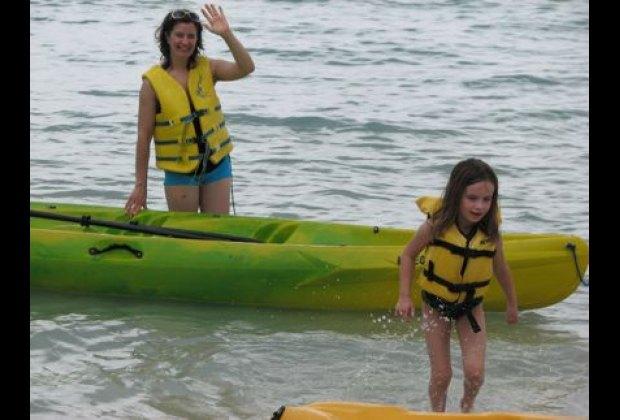 The girl and I go kayaking.