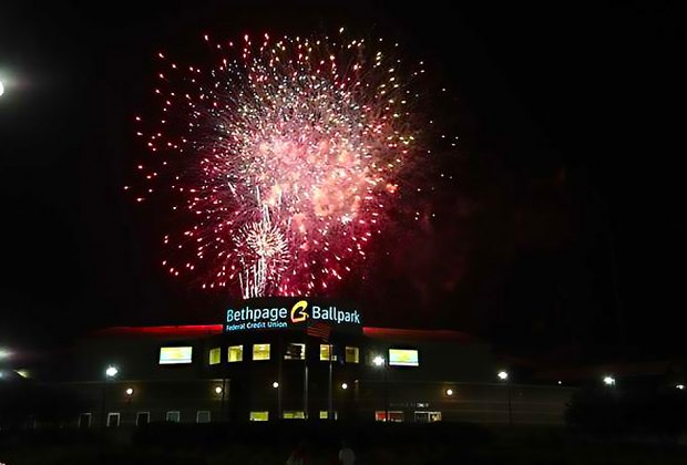Postgame fireworks are a tradition at Long Island Ducks games around July 4. Photo courtesy of the LI Ducks