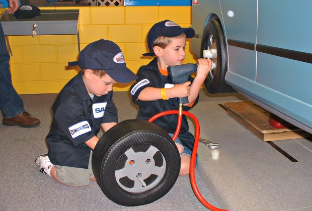 Need a tire changed? Practice at Betty Brinn Children's Museum. Photo courtesy of Visit Milwaukee