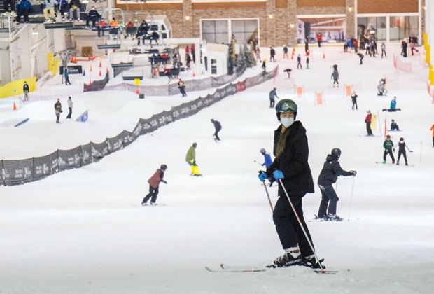 skier at big snow American Dream open now in New Jersey