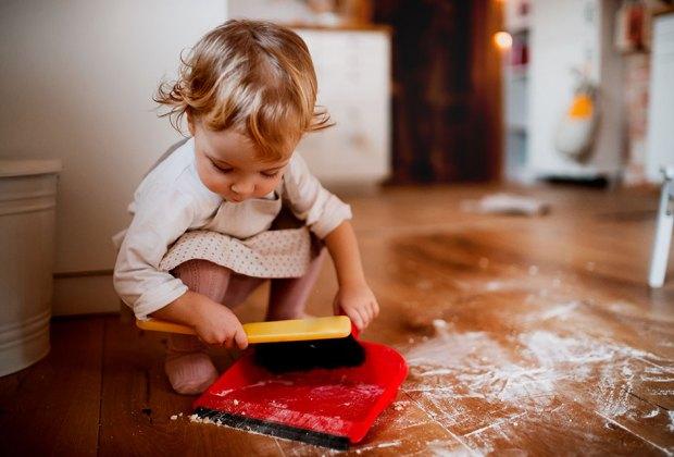 Best Mom Jokes and #momlife Memes: Baby helps clean up
