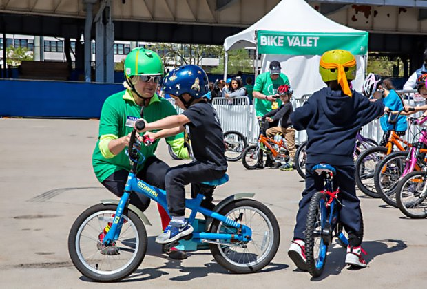 Experts are on hand to get little ones riding at  Bike Expo New York