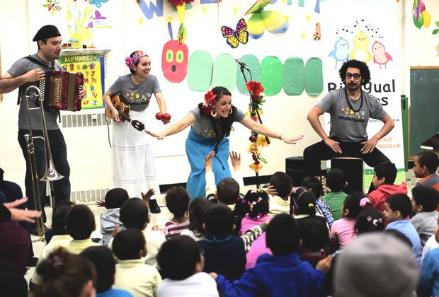 The Bilingual Birdies celebrate language and culture with fun-filled live music and dance. Photo by Sarah Farzam