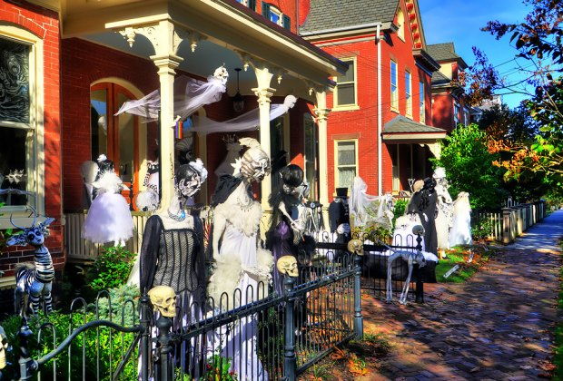The Halloween House of Lambertville features more than 60 homemade, glowing, black-light figures. Photo by Bill T. via Flickr