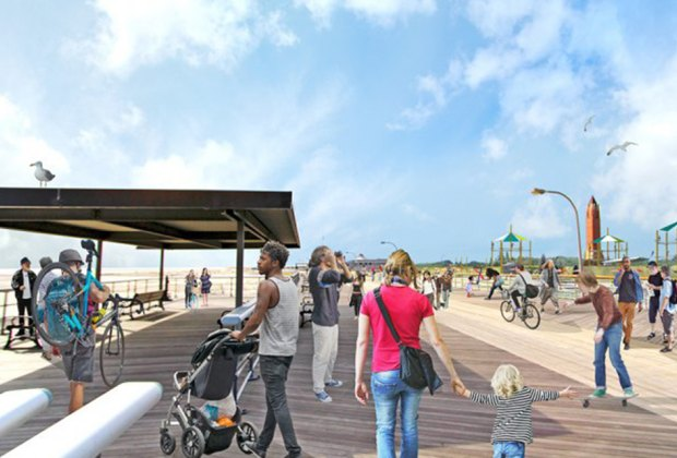 The adventure park at Jones Beach will sit in the shadow of the boardwalk. Rendering courtesy of Wildplay Element Parks