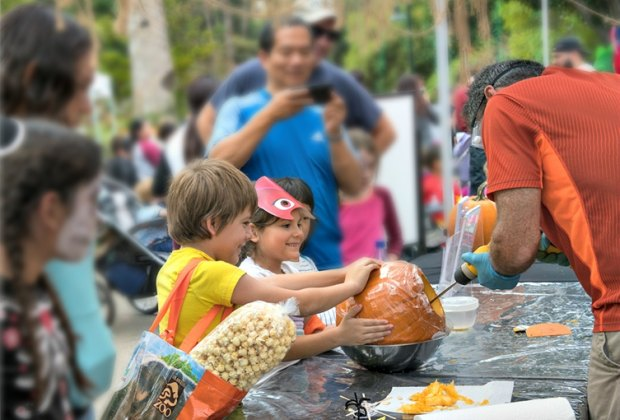 Learn from the pros at the LA Zoo's pumpkin carving stations. Photo by Jamie Pham