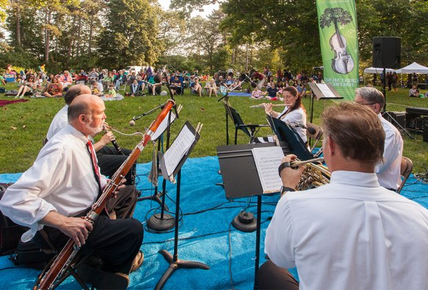 Boston Landmarks Orchestra Ensemble perform at Pinebank Promontory. Photo courtesy of Emerald Necklace Conservancy
