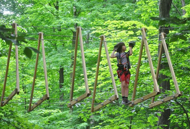 Boundless Adventures offers exciting climbing challenges for ages 7 and up.