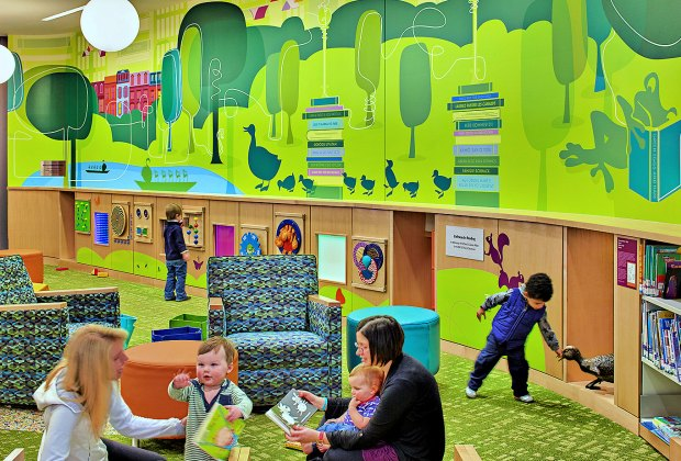 The Children's Room at the BPL Copley Square is an extra-special place to play (and browse books, of course). Photo courtesy of Arrowstreet