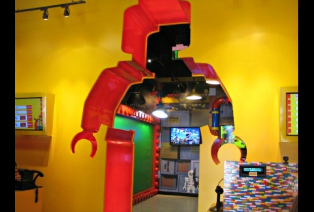 The bright and colorful lobby with cool Lego cash registers