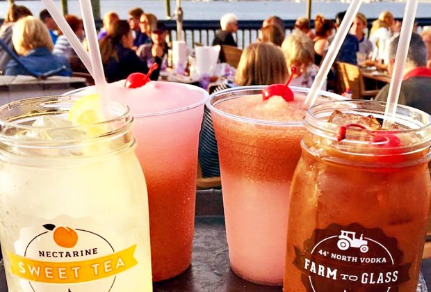 """Adults can sip drinks by the ocean while kids can get fancy """"virgin"""" style drinks at Bungalow Bar."""