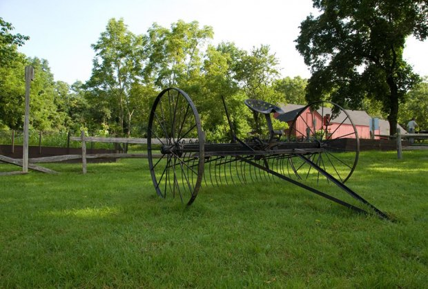 Old farm equipment at Caleb Smith State Park Preserve