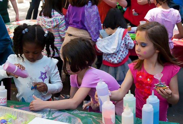 The street is lined with activities at the Calhoun School Carnival. Photo courtesy of the school