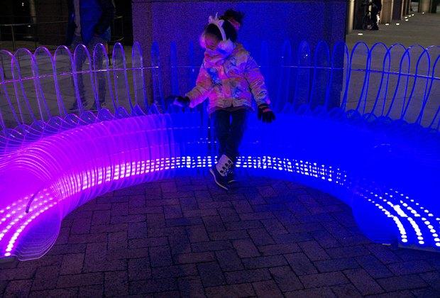 C/C semi-circle lighted acrylic bench public art nyc